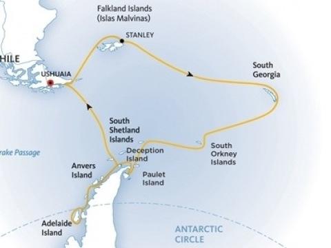 Za jižní polární kruh přes Falklandy a Jižní Georgii na lodi Ocean Diamond
